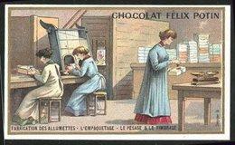 Sammelbild Chocolat Félix Potin, Fabrication Des Allumettes, L'Empaquetage, Le Passage & Le Timbrage, Streichhölzer - Ohne Zuordnung