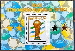Brazil Stamp B 98 Block Brasil Four-time World Cup Star Cup Football Soccer 1994 - Ungebraucht
