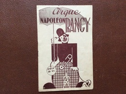 PROGRAMME CIRQUE  CIRQUE Napoleon RANCY  Ville De Lille  25 AOÛT Au 6 SEPTEMBRE - Programmes
