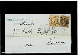 FRANCIA ,lettera Da Lyon Per Torino ,affrancatura Mista Di Due Emissioni(Napoleone+Assedio Di Parigi) - 1849-1876: Classic Period