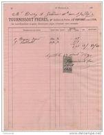 69 ST FORTUNAT Près LYON FACTURE  TOURNISSOUT FRERES  Tailleur De Pierres 1892   -- P4  Saint Rhône - 1800 – 1899