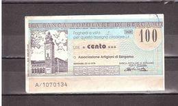 £100 BANCA POPOLARE DI BERGAMO - [10] Scheck Und Mini-Scheck
