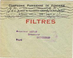 KRAG PARIS XI PP SUR IMPRIME A EN TETE CIE GENERALE DE FONDERIE CHOISY LE ROI - Oblitérations Mécaniques (flammes)