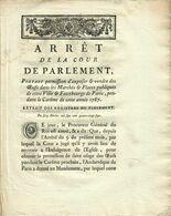 1787- ARRET DE LA COUR DE PARLEMENT- PERMISSION D EXPOSER & VENDRE DES OEUFS DANS LES MARCHES PENDANT LE CAREME - Wetten & Decreten