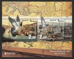 Bosnia And Herzegovina 2020 Europa CEPT Ancient Postal Routes Carrier Pigeon Fauna Istanbul Turkey, Block MNH - Bosnia Erzegovina