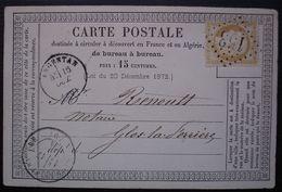 Argentan 1874 Me Chesnel Avoué Gc 153 (Orne) Sur  Carte Précurseur Pour Glos-la-Ferrière. - 1849-1876: Periodo Clásico