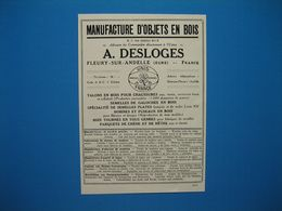(1926) Manufacture D'objets En Bois - A. DESLOGES - Fleury-sur-Andelle (Eure) - Publicités