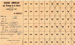 """Document -     """" Secours Américain, Aux Victimes De La Guerre """"- Carte De Lait- - Documentos"""