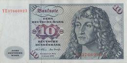 BRD Ro 270d 10 DM Serie YE..A 1970 Ersatznote EF - [ 7] 1949-… : RFD - Rep. Fed. Duitsland