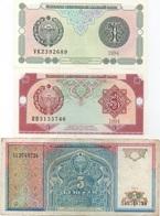 Ouzbékistan Uzbekistan : Série De 3 Billets 1994 : 1 + 3 + 5 Cym (UNC-UNC-Circulé) - Uzbekistan