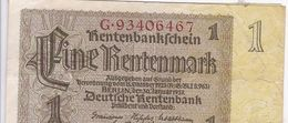 1 Eine RENTENMARK RentenMarkSchein Berlin 30/1/1937 - Otros