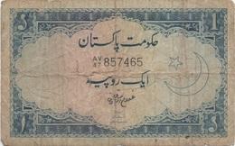 Pakistan : 1 Rupee 1951-73 Très Mauvais état - Pakistan