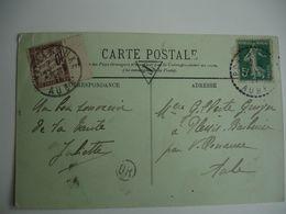 Millesime 1 Sur Timbre Chiffre Taxe 10 C Duval Lettre Taxee - Lettere Tassate