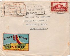 érinnophilie Vignette BUVEZ DU VIN D'ALGERIE Sur Une Enveloppe D'ALGER Pour MONTLOUIS-sur-LOIRE - Historische Documenten