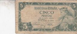 ESPAGNE / 5 ESETAS 1954 - [ 3] 1936-1975 : Regency Of Franco