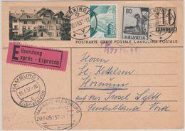 Schweiz - 10 C. Ziffer Bildganzsache + Zusatz Eilkarte Egerkingen - Sylt 1957 - Entiers Postaux