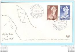 ISLAND ISLANDE ICELAND - FDC - 340-341 Weltflüchtlingsjahr (21862) - FDC