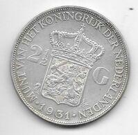 *netherlands 2,5 Gulden 1931  Km 165   Xf - 2 1/2 Gulden