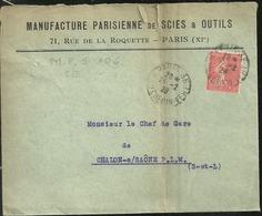 Perforé MPS 104  Manufacture Parisienne De Scierie  Rare Sur Lettre - Frankrijk