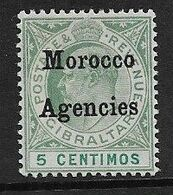 MOROCCO AGENCIES 1904 5c SG 17 WATERMARK CROWN CA  UNMOUNTED MINT Cat £10 - Morocco Agencies / Tangier (...-1958)