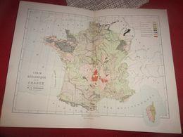 FIN XX EME 1868  CORTAMBERT CARTE  GEOLOGIQUE DE LA FRANCE - Carte Geographique