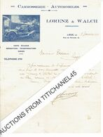 Lettre Illustrée De 1909 LIEGE - LORENZ & WALCH -  Célèbre Carrossier D'automobiles Belges - België