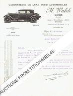 Lettre Illustrée 1929 LIEGE - M. WALCH - Fabrication De Carrosserie De Luxe Pour Automobiles - België