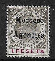 MOROCCO AGENCIES 1905 1p SG 22 WATERMARK CROWN CA   UNMOUNTED MINT Cat £35 - Morocco Agencies / Tangier (...-1958)