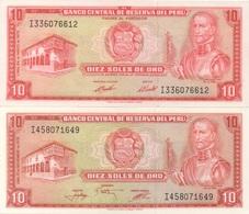 Pérou Peru : Pair De 2 Billets Différents) 10 Soles De Oro 1973 (EL BANCO...PAGARA...) Et 1976 (sans Ces Mots) UNC - Perù