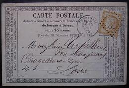 Chabanais Charente 1875 GC 825 Sur Carte Précurseur Pour Chazelles Sur Lyon Loire - 1849-1876: Période Classique