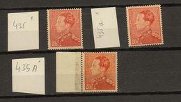 Belgie - Belgique Ocb Nr :  435 435a 435A  * MH  (zie Scan) - 1936-1951 Poortman