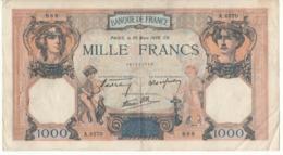 """FRANCE   1'000  Francs   P90  """"Cérès Et Mercure""""   Dated  30 Mars 1939 - 1871-1952 Antichi Franchi Circolanti Nel XX Secolo"""