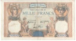 """FRANCE   1'000  Francs   P90  """"Cérès Et Mercure""""   Dated  20 Juin 1940 - 1871-1952 Antichi Franchi Circolanti Nel XX Secolo"""