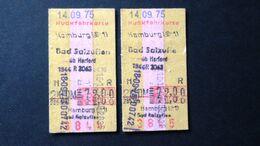 Germany - Deutsche Bundesbahn - Hamburg - Bad Salzuflen - Hamburg - DM 72,00 - 1975 - Chemins De Fer