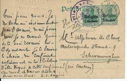 5 Centimes-postkarte Met BZ 2 - Afstempeling MOLL - Blindstempel P. DE CLERCQ BROUWER-MOUTER MOLL - Guerre 14-18
