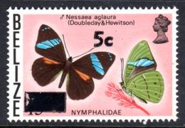 BELIZE - 1976 BUTTERFLIES OVERPRINTED 5c ON 15c FINE MNH ** SG 448 - Belize (1973-...)