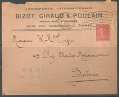 Perforé NG 20 Transports Bizot, Giraud & Poulain  Pas Courant Sur Lettre   Paris - Frankrijk