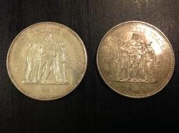 2 PIÈCES 50F ARGENT 1974 & 1976 - M. 50 Francs