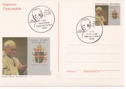 Croatia, Pope John Paul II, First Day Cancel On Stationery - Papes