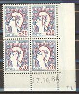 N° 1282 Y.T. Neuf ** Marianne De Cocteau Coin Daté: 17.10.66 - Hoekdatums