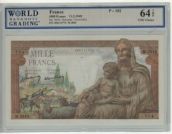 """FRANCE   1'000  Francs   P102  """"Déesse Déméter""""   Dated  11=2= 1941  UNC  Slabbed  WBG   64 Top   UNC Choice - 1 000 F 1927-1940 ''Cérès Et Mercure''"""