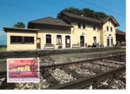 Liechtenstein 1997  Bahnhof  Nendeln Maximum Karte - Treni