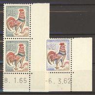 N° 1331 - 1331A  Y.T. Neuf ** Coq De Decaris Coin Daté: 8.1.65 - 6.3.62 Les Deux - Marcophily (detached Stamps)