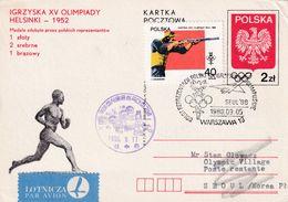 Poland 1952 Postal Stationery Card: Olympic Games Halsinki Seoul 1988; Departure; Shooting Trap; Paavo Nurmi; Receiving - Sommer 1952: Helsinki