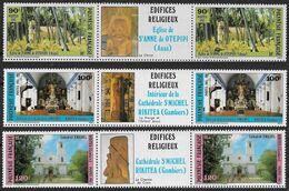 1985 Polynésie Française N°243A à 245A  . Nf** MNH . Edifices Religieux - Polinesia Francese