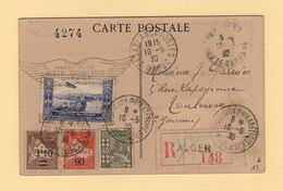 Algerie - Premier Voyage Alger Casablanca - 10-5-1930 - Carte Postale Recommandee - Exposition Philatelique - Luftpost