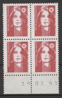N° 2806 Y.T. Neuf ** Marianne Du Bicentenaire Sans Valeur Coin Daté: 19.03.93 - 1980-1989