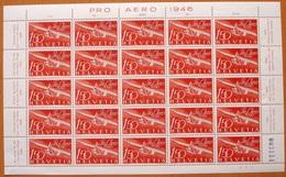 """Schweiz Suisse 1946: Pro Aero """"Gleiter Zögling"""" Zu F41 Mi 470 Yv PA 40 Im Bogen ** MNH (Zumstein CHF 800.00) NOTA !! - Posta Aerea"""