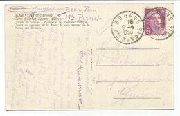 GANDON 10FR VIOLET SEUL CARTE BOGEVE 6.6.1950 HTE SAVOIE POUR GENEVE TARIF SPECIAL FRONTALIER PEU COMMUN - 1945-54 Marianne De Gandon