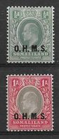 SOMALILAND 1904 ½a And 1a OFFICIALS 'O.H.M.S.' OVERPRINTS SG O10/O11 LIGHTLY MOUNTED MINT Cat £19 - Somaliland (Protectorat ...-1959)